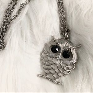 NECKLACE Owl Pendant Long Chain Costume Jewelry